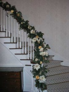 Banister Decorated for the Holidays